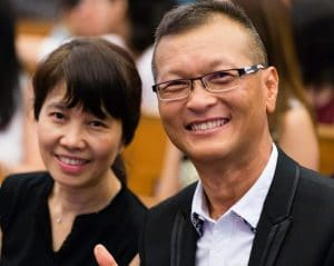 David and his wife Whee Ling, who is an accountant.